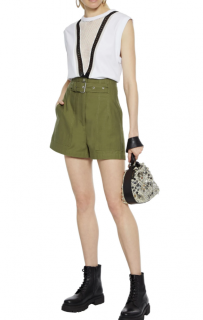 3.1 Phillip Lim Army Green Cotton High Waisted Shorts