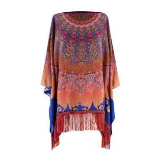 Etro Multicolour Paisley Silk Fringed Poncho