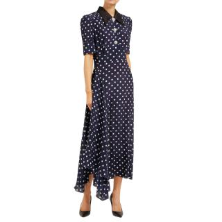 Alessandra Rich Navy Polka Dot Silk Crystal Button Tea Dress
