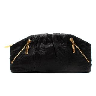 Tory Burch Black Crinkle Leather Zip Pouch