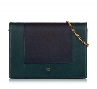 Celine Frame Leather Clutch On Chain