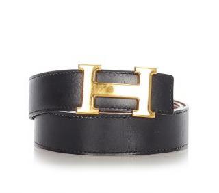Hermes Black & Gold Reversible Constance Leather Belt GHW - Size 75