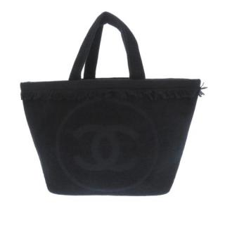 Chanel Black Terry Cotton Large Fringed CC Beach Tote