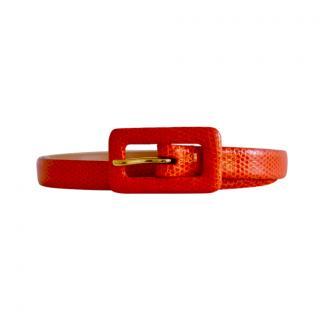 Ralph Lauren Collection Orange Lizard Leather Skinny Belt - Size S