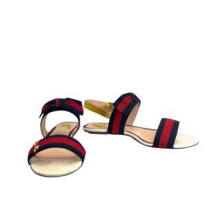 Gucci Web Leather Trim Flat Sandals