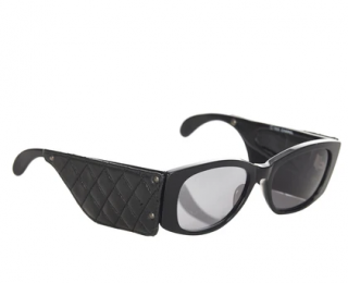 Chanel Vintage '88 Black Sunglasses with Quilted Arms