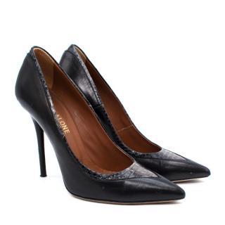 Malone Souliers Black Leather & Snakeskin Stiletto Pumps