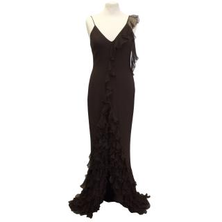 Matthew Williamson Brown Ruffle Dress