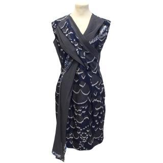 Peter Pilotto Navy & Grey Patterned Dress