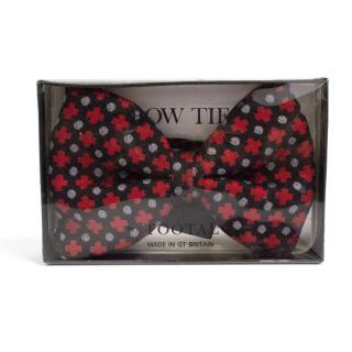Vintage Tootal Black Patterned Bow Tie