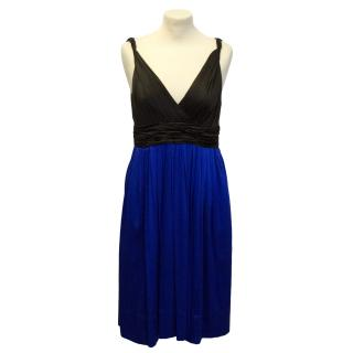 DKNY Brown & Blue Pleated Dress