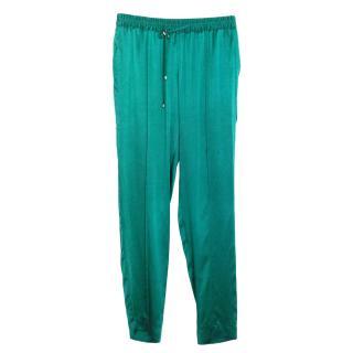 Hamish Morrow emerald silk satin trousers