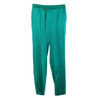 Hamish Morrow emerald silk satin trousers