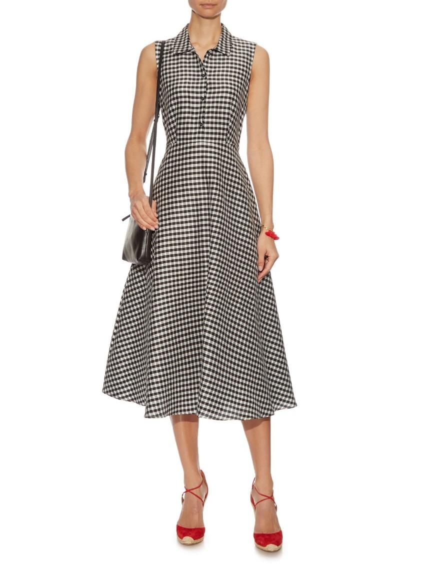 Max Mara Studio Plaid Silk Blend Cadine Sleeveless Dress