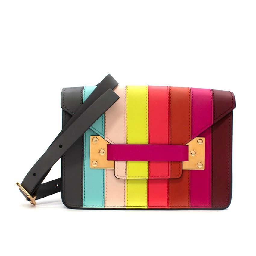 Sophie Hulme Mini Milner Rainbow Striped Saddle Leather Envelope Bag