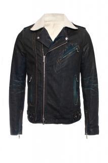 Balmain Shearling Lined Distressed Denim Biker Jacket