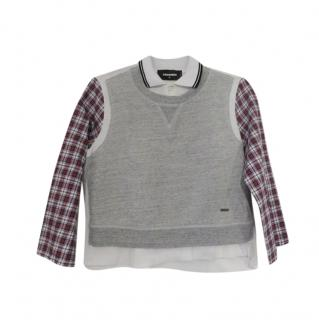 DSquared2 Polo Shirt with Plaid Sleeves & Sweater Overlay