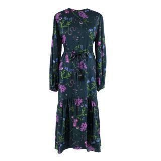 Borgo de Nor Dark Green Floral Print Long Sleeve Cotton & Silk Dress