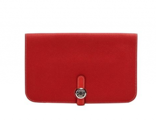 Hermes Red Togo Leather Dogon Leather Long Wallet