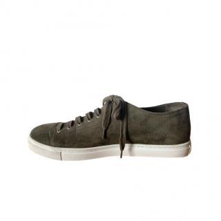 Sunspel Low Top Khaki Suede Sneakers
