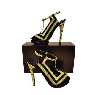 Georgina Goodman Snakeskin & Suede Cut-Out Sandals
