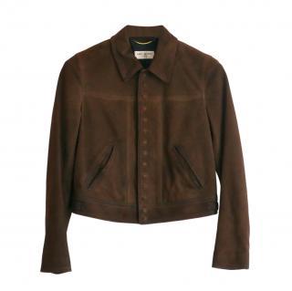 Saint Laurent Brown Nubuck Leather Jacket