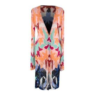 Missoni Multicolour Zigzag Floral Knit Open Cardigan