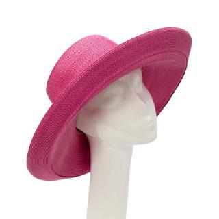 Patricia Underwood Pink Straw Wide Brim Hat
