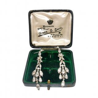 Bespoke Silver Victorian Crystal Chandelier Earrings