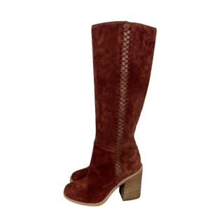 Ugg Tan Suede Woven Trim Knee Boots