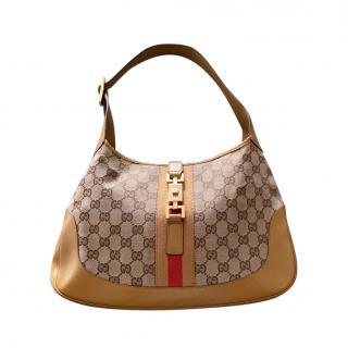Gucci 'Gold' GG Monogram Leather Trim Jackie Shoulder Bag