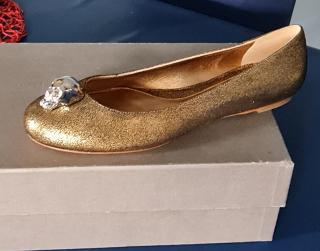 Alexander McQueen Gold Skull Ballet Flats