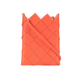 Bottega Veneta Orange Intrecciato Leather Mini Pouch Crossbody Bag
