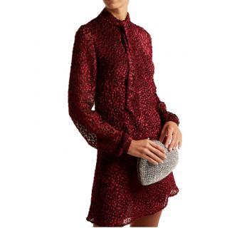 Saint Laurent Pussy-bow Devor�-chiffon Mini Dress In Burgundy