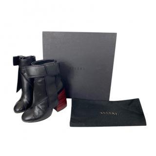 Ellery Black Leather Contrast Heel Ankle Boots