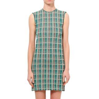 Celine by Phoebe Philo Green Plaid Sleeveless Dress