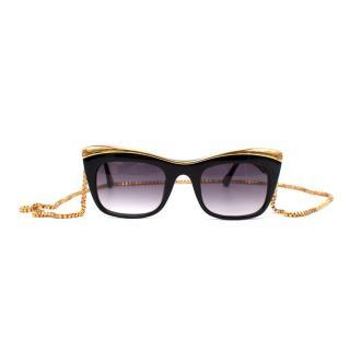 Elizabeth & James Valenti Black & Gold Cat Eye Sunglasses