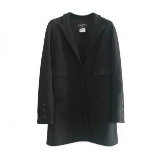 Chanel Black Wool Tailored Longline Jacket