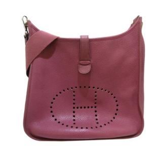 Hermes Rosy Pink Clemence Leather Evelyne II GM