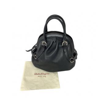 Ferragamo Black Kid Leather Vintage Tote Bag