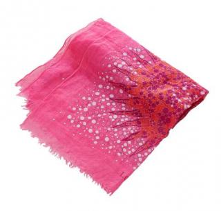 Loewe Pink Silk Printed Scarf