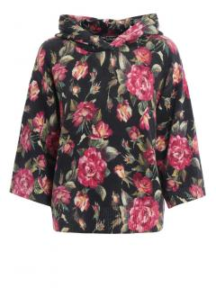 Dolce & Gabbana Cashmere Knit Rose Print Hoodie