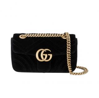 Gucci Black GG Marmont Velvet Mini Bag