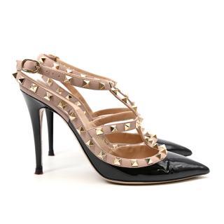 Valentino Rockstud Black & Poudre Ankle Strap Studded Leather Pumps