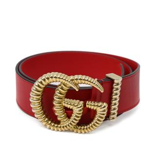 Gucci Red Leather Torchon GG Buckle Belt - Size 85