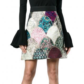 Dolce & Gabbana Patchwork Jacquard A-Line Skirt