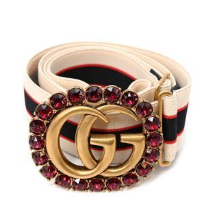 Gucci Gg Crystal Logo Slider Web Stripe Belt Ruby - Size 85