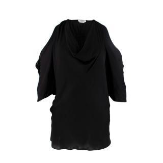 Givenchy Black Cold Shoulder Draped Fluid Blouse