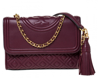 Tory Burch Fleming Burgundy Quilted Leather Shoulder Bag