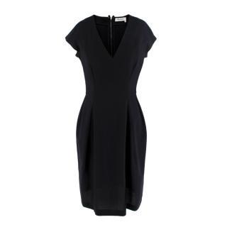 Yves Saint Laurent Black Crepe Short Sleeve V-Neck Dress
